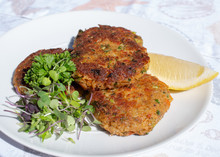 Fresh Crab Cakes Served On A W...