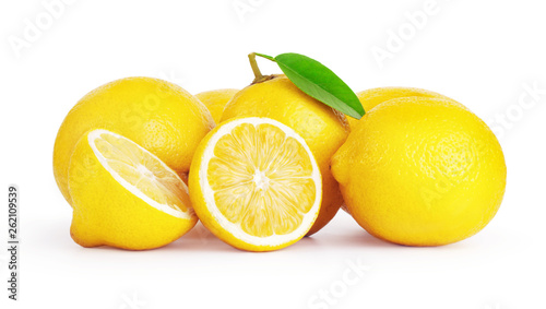 Fototapeta fresh lemon fruits isolated on white background obraz