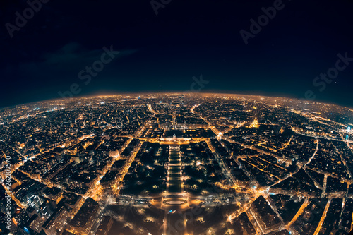 amazing night view from french eiffel tower; beautiful skyline of night paris Canvas Print