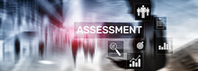 Business Banner. Assessment Evaluation Measure Analytics Analysis Business And Technology Concept On Blurred Background.