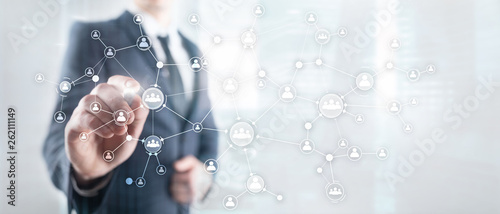 Fotografie, Obraz  HR human resources management concept corporate organisation structure mixed media double exposure virtual screen