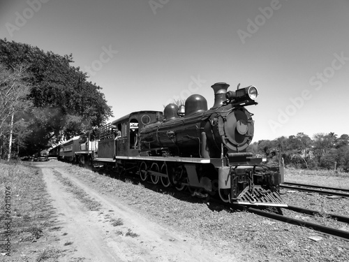 Valokuva Black and white photography of the old steam train in Brazil