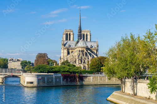 Fotografia  View of the cathedral of Notre Dame and the river Seine