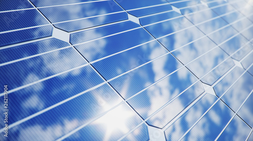 Obraz 3D illustration solar Panels close-up. Alternative energy. Concept of renewable energy. Ecological, clean energy. Solar panels, photovoltaic with reflection beautiful blue sky. - fototapety do salonu