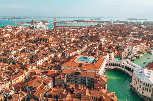 Fotografía  Epic panoramic aerial cityscape of Venice with Santa Maria della Salute church a