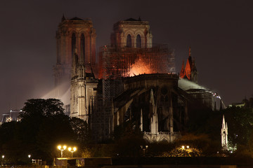 Burning roof of Notre Dame cathedral on April 15th, 2019 in Paris, Frrance.