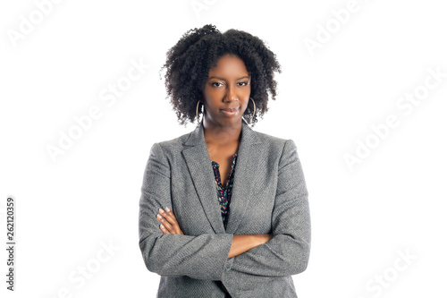 Fotografía  Black African American female businesswoman isolated on a white background looki