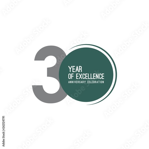 Leinwand Poster 30 Year of Excellence Anniversary Celebration Vector Template Design Illustratio