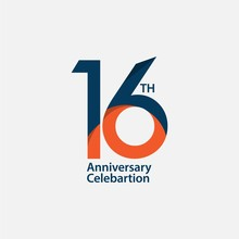 16 Th Anniversary Celebration Vector Template Design Illustration