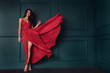 canvas print picture - Fashion lady in red maxi dress.