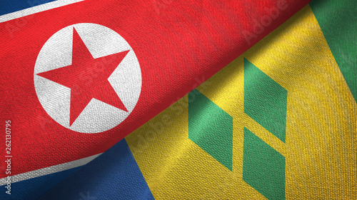 Fotografie, Obraz  North Korea and Saint Vincent and the Grenadines two flags textile cloth