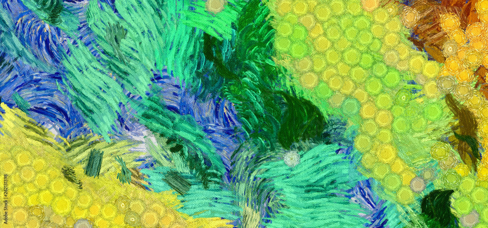 Impressionism wall art print. Vincent Van Gogh style expressionism oil painting. Swirl splashes. Surrealism artwork. Abstract artistic background. Real brush strokes on canvas. Contemporary fine art.