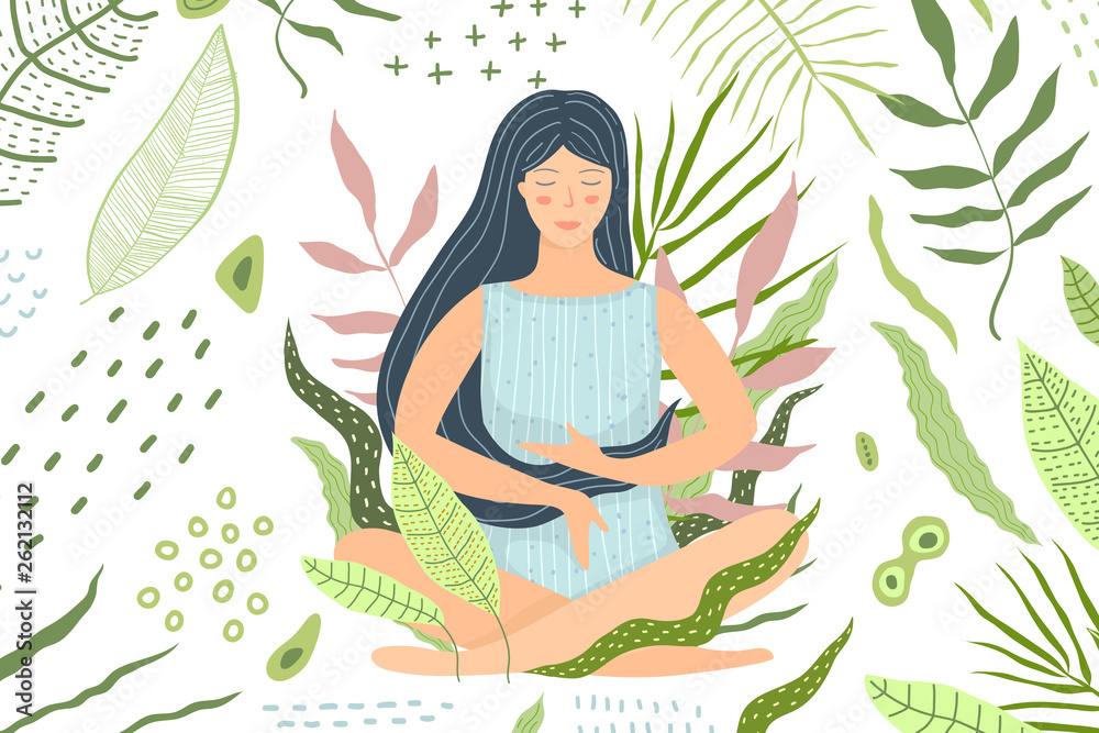 Fototapeta Woman Meditation in Nature Green Background
