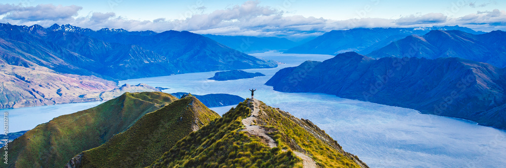 Fototapety, obrazy: Roys Peak Scenic View Over Lake Wanaka Scenery of New Zealand Landscape Background.