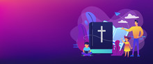 Tiny People, Kids Boy And Girl In Christian Summer Camp Reading Bible. Religious Summer Camp, Faith Based Camp, Religious Education Concept. Header Or Footer Banner Template With Copy Space.