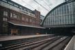 Train station platform in vintage european style