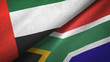 canvas print picture - United Arab Emirates and South Africa two flags textile cloth, fabric texture