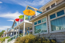 Beach Houses With Colorful Umbrellas