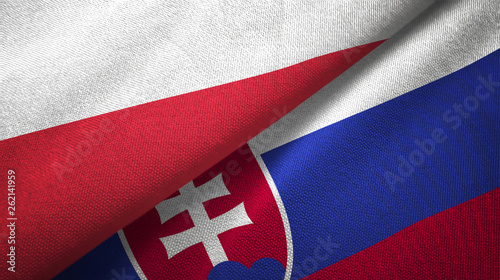 Poland and Slovakia two flags textile cloth, fabric texture