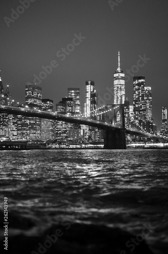 Brooklyn Bridge Skyline in Black and White