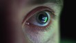 Eye Looking at Computer Screen Programming Hacker Code Reflecting in Eyeball