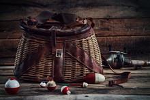 Fishing Bobbers With Vintage Creel Basket