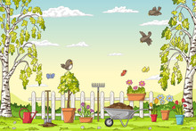 Spring Landscape With Gardening Tolls And Birds. Hand Draw Vector Illustration.