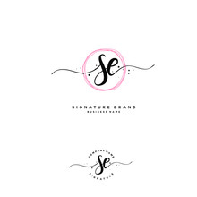 S E SE Initial Letter Handwriting And  Signature Logo.