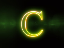 Letter C - Green Glowing Outli...