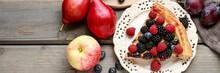 Piece Of Fruit Tart With Blackberries, Raspberries And Blueberries.