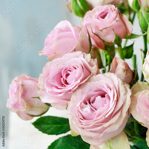 Wall Murals Floral Bouquet of pink roses.