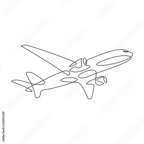 Fototapeta Samolot rysunek jedną linią. Logo wektor obraz