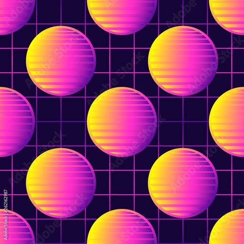 Neon Retrowave 80s Style Seamless Pattern With Spheres Sun