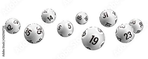 Vector white rolling bingo lottery balls Canvas Print