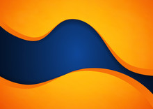 Abstract Blue And Orange Wave Vector Background