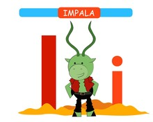 Letter I And Funny Cartoon Impala.  Animals Alphabet A-z. Cute Zoo Alphabet In Vector For Kids Learning English Vocabulary. Printable Sheet.