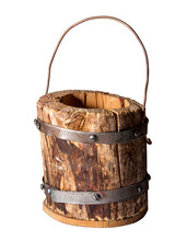 Wooden Bucket Fastened With Me...