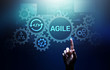canvas print picture Agile development methodology concept on virtual screen. Technology concept.