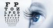 Leinwandbild Motiv Female eye with long eyelashes close-up