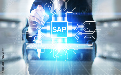 SAP - Business process automation software. ERP enterprise resources planning system concept on virtual screen. - 262175107