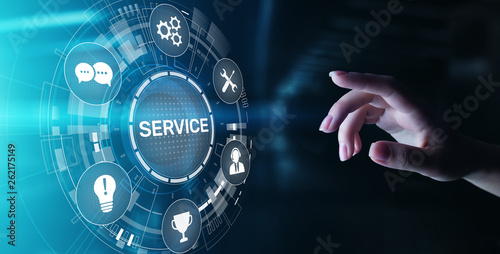 Service support customer help call center Business technology button on virtual screen Fototapet