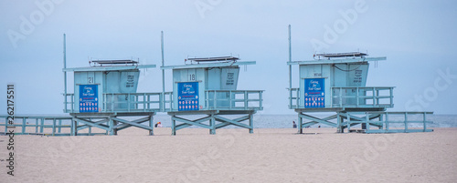 Photo  Lifeguard towers at Venice Beach California - travel photography