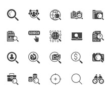 Data Search Flat Glyph Icons Set. Magnify Glass, Find People, Image Zoom, Database Exploration, Analysis Vector Illustrations. Signs For Web Engine. Solid Silhouette Pixel Perfect 64x64