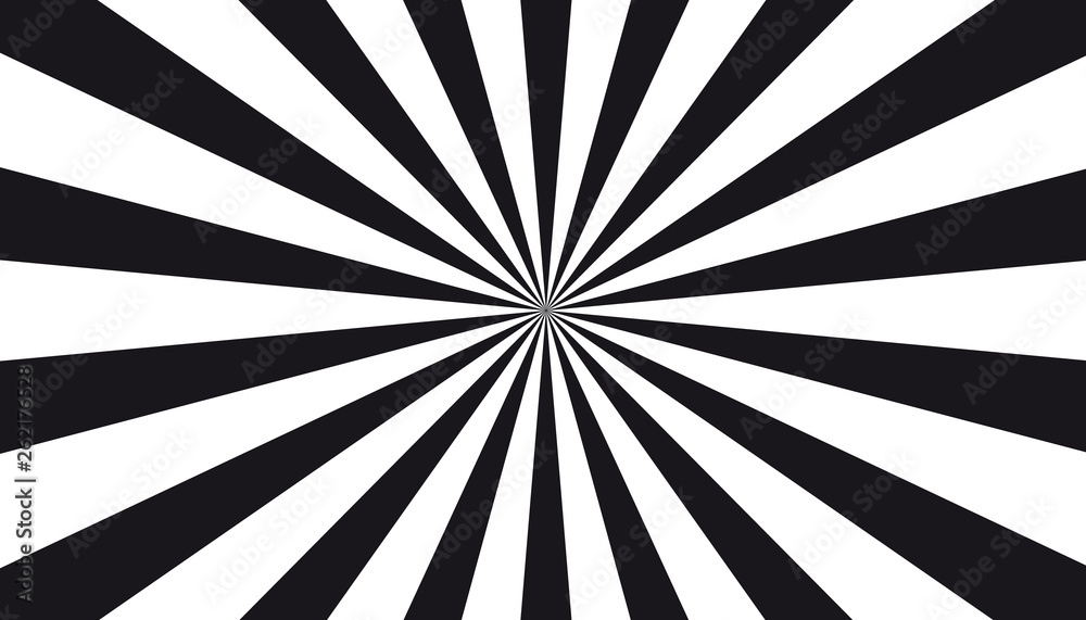 Fototapeta Black And White Sunburst Background - Vector Illustration