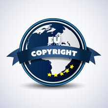 EU Digital Copyright Act Concept, Directive Compliance Stamp Or Badge For Your Website