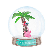Watercolor Cute Flamingo In Snow Globe