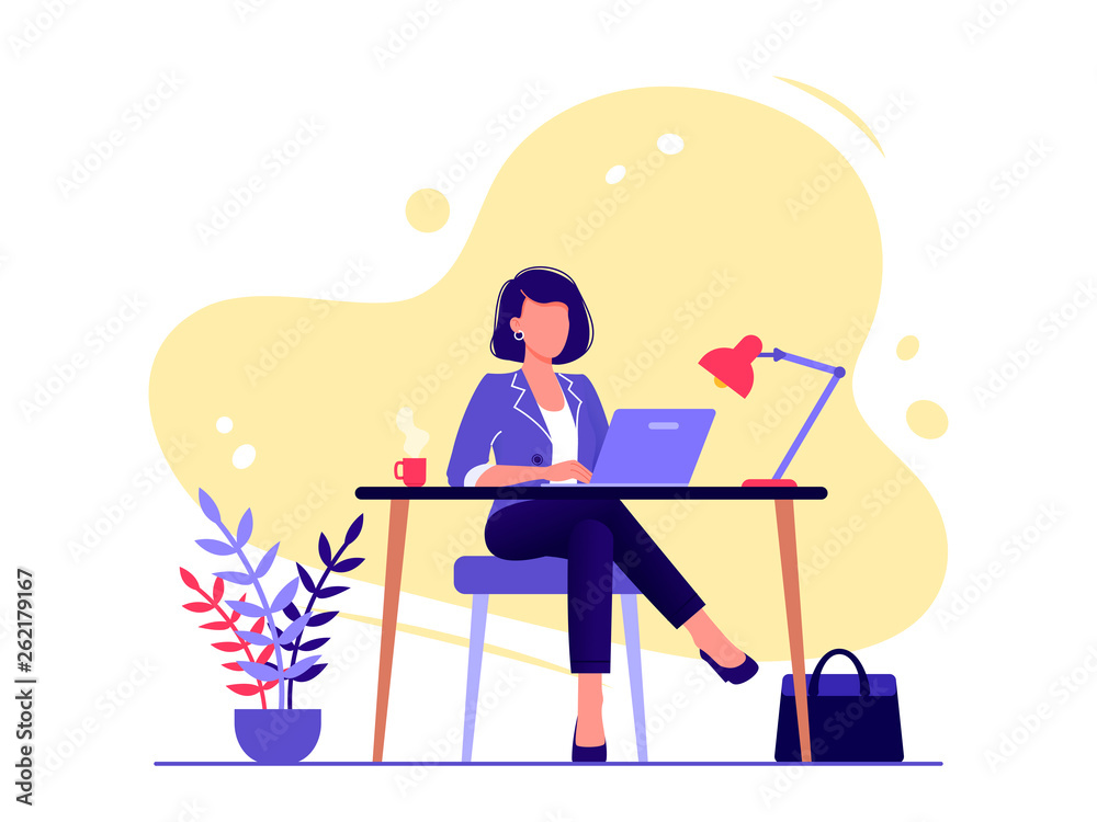Fototapeta Office worker. Businesswoman is sitting at the desk and working on the laptop. Flat vector concept illustration isolated on white.