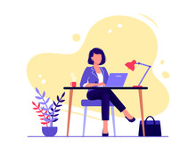 Office Worker. Businesswoman Is Sitting At The Desk And Working On The Laptop. Flat Vector Concept Illustration Isolated On White.