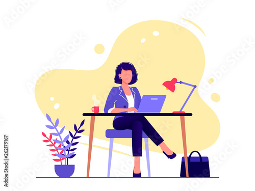 Obraz Office worker. Businesswoman is sitting at the desk and working on the laptop. Flat vector concept illustration isolated on white. - fototapety do salonu