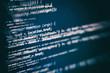 Big data storage and cloud computing representation. Programming code .